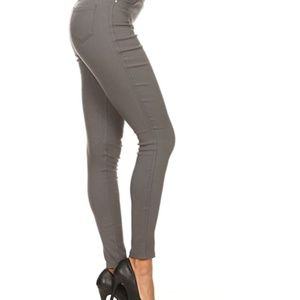 JVINI High Waist Skinny Pants Medium Charcoal Gray